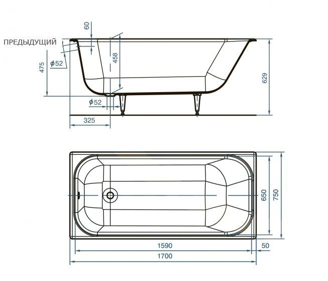 каков минимальный размер сантехнического люка под ванну