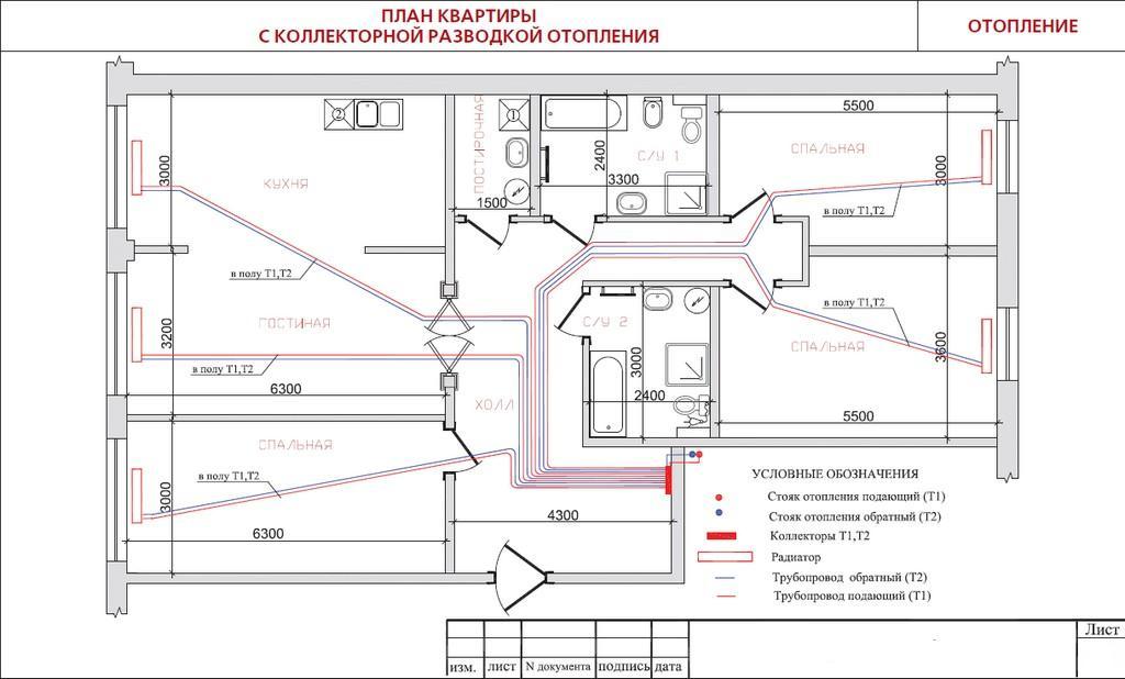 Как сделать схему отопления квартиры