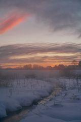Закат, туман, мороз