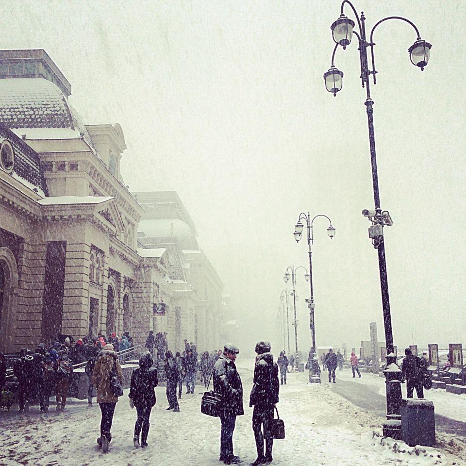 Недавний снегопад в Москве.