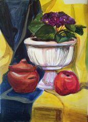 натюрморт с вазой и яблоками
