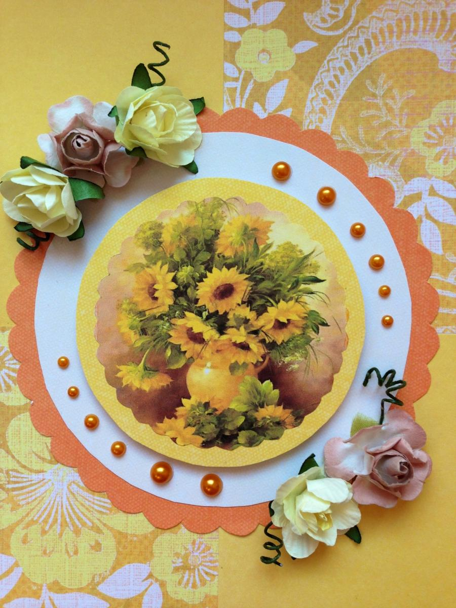 Скрапбукинг подсолнухи открытка