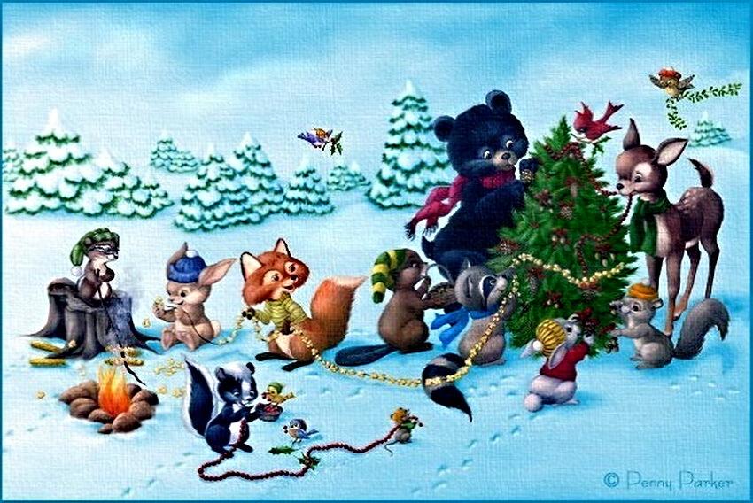 Смешные приколы, новогодняя открытка советские лесные звери