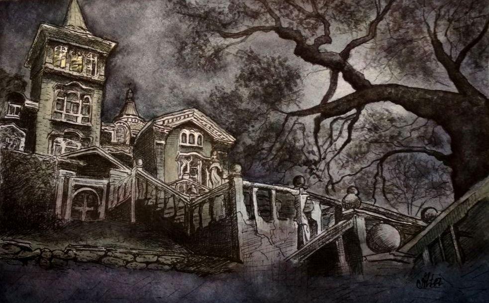 Дом с привидениями (линеры + акварель)