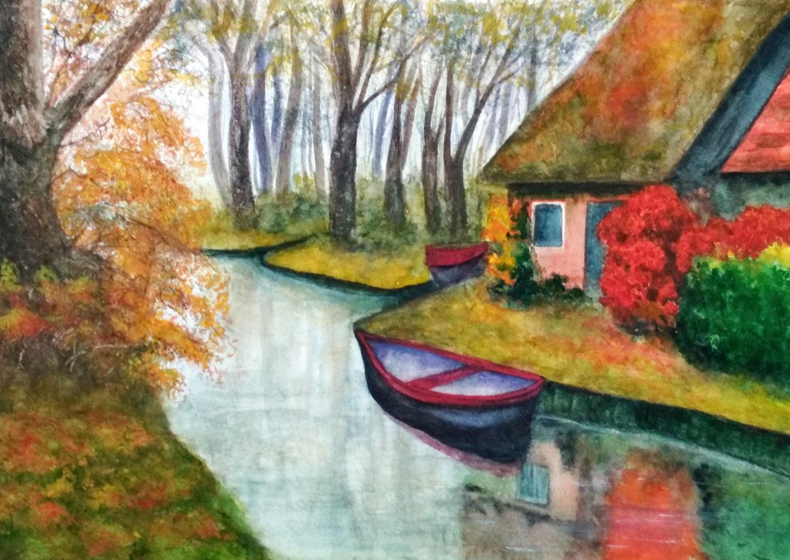 Осень в голландской деревне Гитхорн