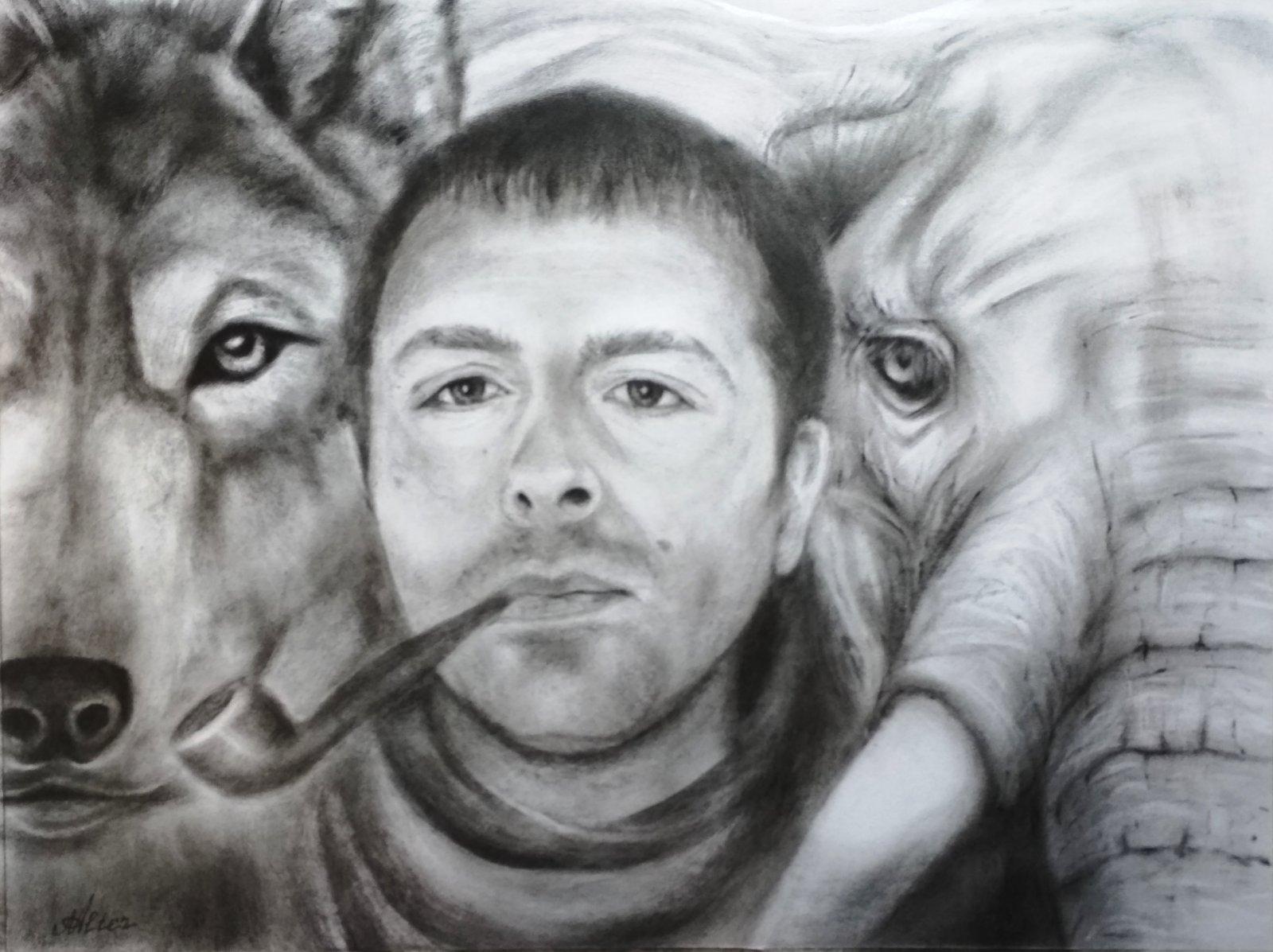 Бах, Слоня и ВолчоГ. Масло (техника сухая кисть)
