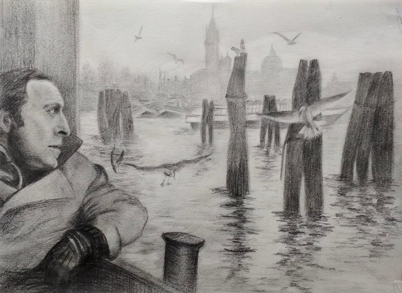 Бродский в Венеции (простой карандаш)