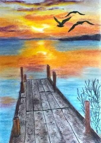 романтичный мосток (пастель)