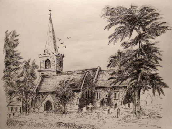английская церквушка (гелевая ручка)