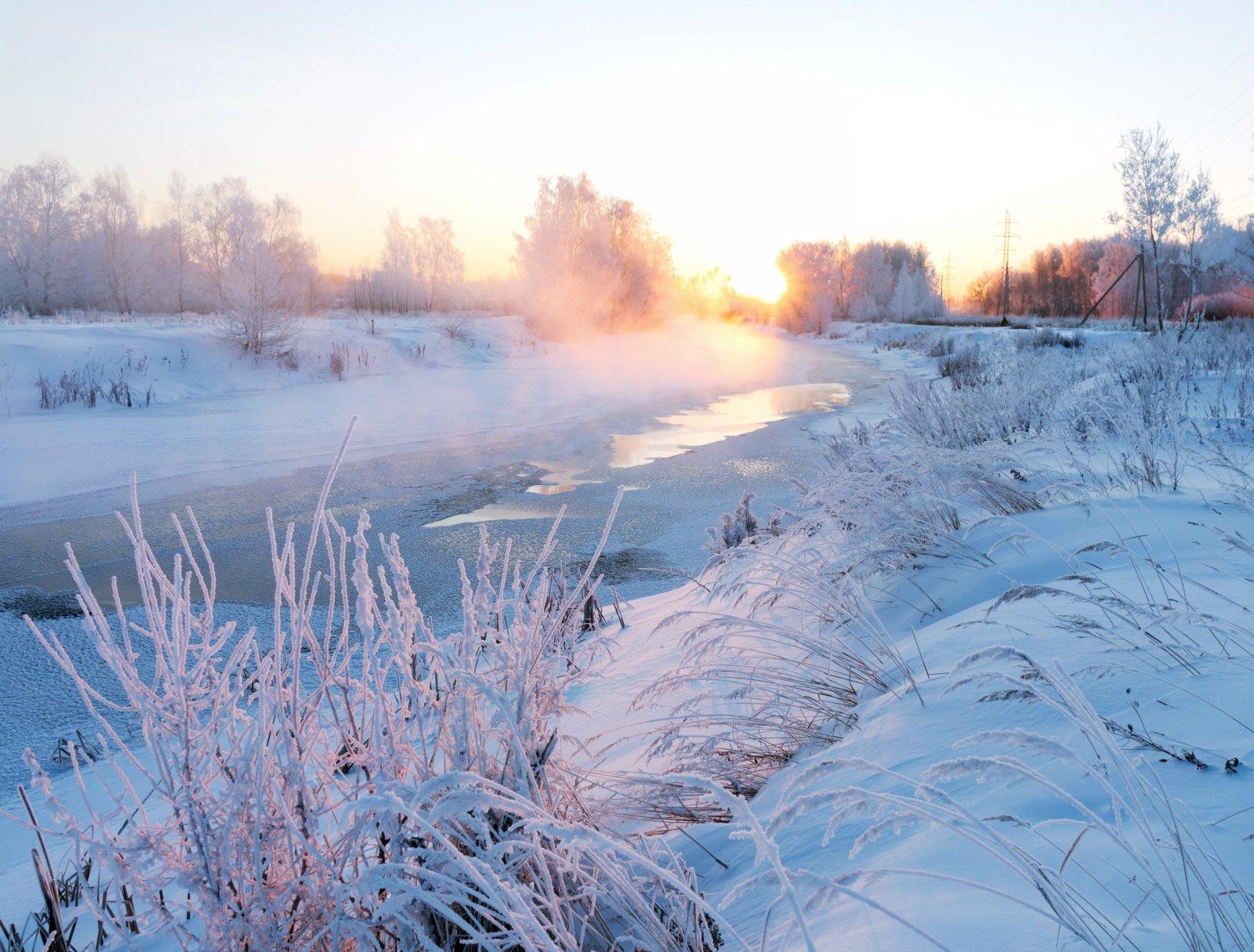 Морозный рассвет на Уче