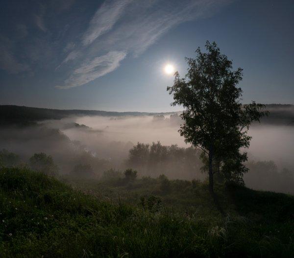 Полнолуние над туманной рекой