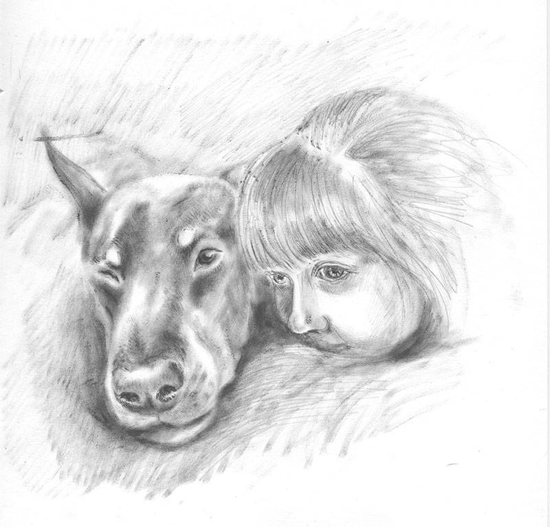 Картинки собаки и человека карандашом
